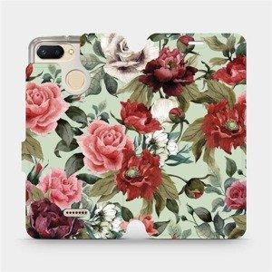 Flipové pouzdro Mobiwear na mobil Xiaomi Redmi 6 - MD06P Růže a květy na světle zeleném pozadí