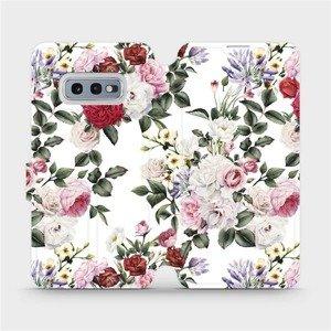 Flipové pouzdro Mobiwear na mobil Samsung Galaxy S10e - MD01S Růže na bílé