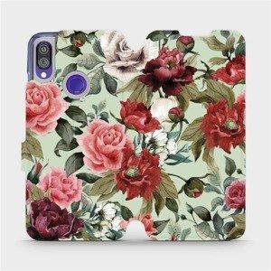 Flipové pouzdro Mobiwear na mobil Xiaomi Redmi Note 7 - MD06P Růže a květy na světle zeleném pozadí