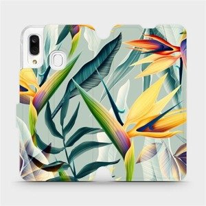 Flipové pouzdro Mobiwear na mobil Samsung Galaxy A40 - MC02S Žluté velké květy a zelené listy