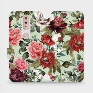 Flipové pouzdro Mobiwear na mobil Nokia 4.2 - MD06P Růže a květy na světle zeleném pozadí