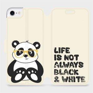 Flipové pouzdro Mobiwear na mobil Apple iPhone SE 2020 - M041S Panda - life is not always black and white