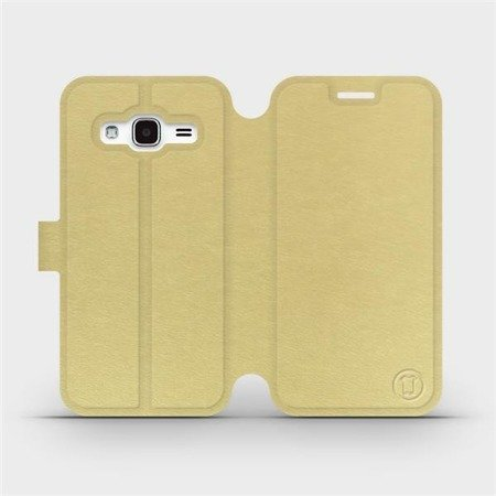 Parádní flip pouzdro Mobiwear na mobil Samsung Galaxy J3 2016 v provedení C_GOP Gold&Orange s oranžovým vnitřkem