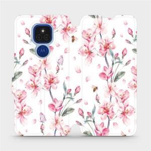 Flipové pouzdro Mobiwear na mobil Motorola Moto E7 Plus - M124S Růžové květy