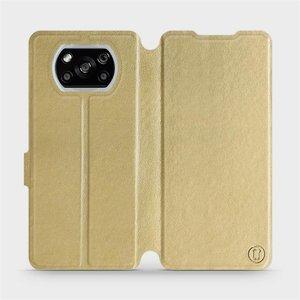 Flipové pouzdro Mobiwear na mobil Xiaomi POCO X3 NFC v provedení C_GOP Gold&Orange s oranžovým vnitřkem