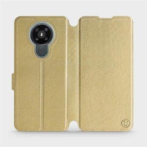 Flipové pouzdro Mobiwear na mobil Nokia 3.4 v provedení C_GOS Gold&Gray s šedým vnitřkem