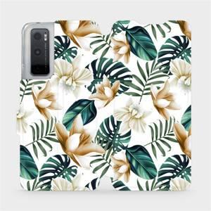 Flipové pouzdro Mobiwear na mobil Vivo Y70 - MC07P Zlatavé květy a zelené listy