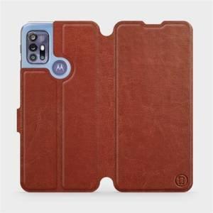 Flipové pouzdro Mobiwear na mobil Motorola Moto G30 v provedení C_BRP Brown&Orange s oranžovým vnitřkem