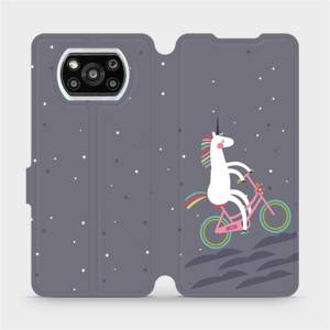 Flipové pouzdro Mobiwear na mobil Xiaomi Poco X3 Pro - V024P Jednorožec na kole
