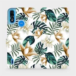Flipové pouzdro Mobiwear na mobil Motorola Moto E7i Power - MC07P Zlatavé květy a zelené listy