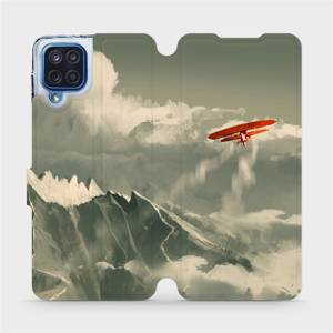 Flipové pouzdro Mobiwear na mobil Samsung Galaxy M12 - MA03P Oranžové letadlo v horách