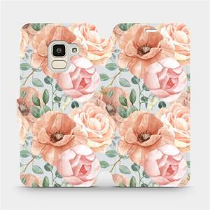 Flip pouzdro Mobiwear na mobil Samsung Galaxy J6 2018 - MP02S Pastelové květy