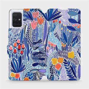 Flip pouzdro Mobiwear na mobil Samsung Galaxy A71 - MP03P Modrá květena