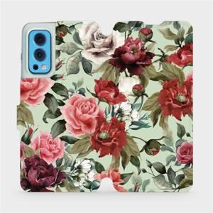 Flip pouzdro Mobiwear na mobil OnePlus Nord 2 5G - MD06P Růže a květy na světle zeleném pozadí