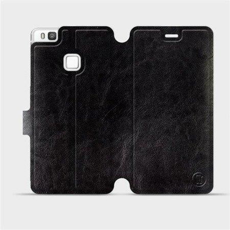 Parádní flip pouzdro Mobiwear na mobil Huawei P9 Lite v provedení C_BLS Black&Gray s šedým vnitřkem