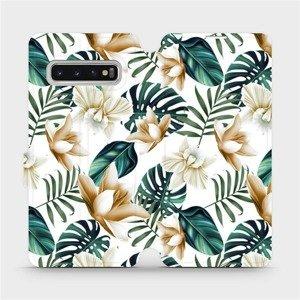Flipové pouzdro Mobiwear na mobil Samsung Galaxy S10 - MC07P Zlatavé květy a zelené listy