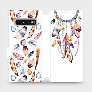 Flipové pouzdro Mobiwear na mobil Samsung Galaxy S10 Plus - M003S Lapač a barevná pírka