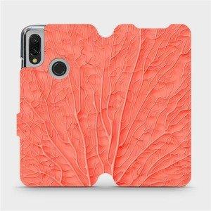 Flipové pouzdro Mobiwear na mobil Xiaomi Redmi 7 - MK06S Oranžový vzor listu - výprodej