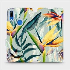 Flipové pouzdro Mobiwear na mobil Huawei P Smart Z - MC02S Žluté velké květy a zelené listy