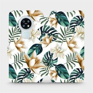 Flipové pouzdro Mobiwear na mobil Nokia 6.2 - MC07P Zlatavé květy a zelené listy