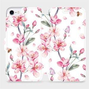 Flipové pouzdro Mobiwear na mobil Apple iPhone SE 2020 - M124S Růžové květy