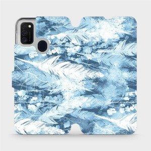 Flipové pouzdro Mobiwear na mobil Samsung Galaxy M21 - M058S Světle modrá horizontální pírka