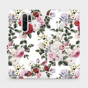 Flipové pouzdro Mobiwear na mobil Xiaomi Redmi 9 - MD01S Růže na bílé