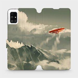 Flipové pouzdro Mobiwear na mobil Samsung Galaxy M51 - MA03P Oranžové letadlo v horách