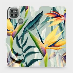 Flipové pouzdro Mobiwear na mobil Motorola Moto G9 Power - MC02S Žluté velké květy a zelené listy