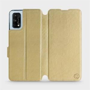 Flipové pouzdro Mobiwear na mobil Realme 7 Pro v provedení C_GOS Gold&Gray s šedým vnitřkem