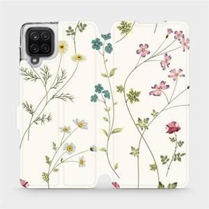Flipové pouzdro Mobiwear na mobil Samsung Galaxy A12 - MD03S Tenké rostlinky s květy