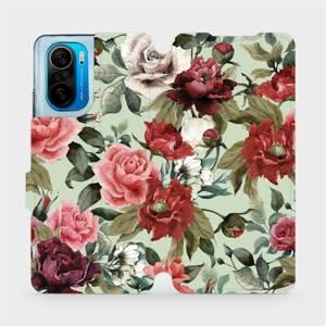Flipové pouzdro Mobiwear na mobil Xiaomi Mi 11i / Xiaomi Poco F3 - MD06P Růže a květy na světle zeleném pozadí