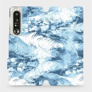 Flip pouzdro Mobiwear na mobil Sony Xperia 1 III - M058S Světle modrá horizontální pírka