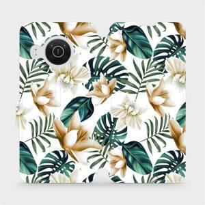Flip pouzdro Mobiwear na mobil Nokia X10 - MC07P Zlatavé květy a zelené listy