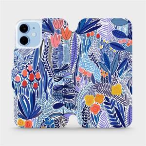 Flip pouzdro Mobiwear na mobil Apple iPhone 12 Mini - MP03P Modrá květena