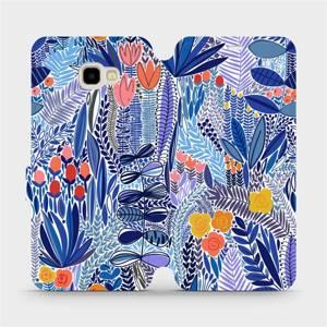 Flip pouzdro Mobiwear na mobil Samsung Galaxy J4 Plus 2018 - MP03P Modrá květena