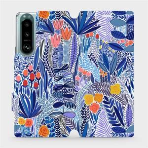 Flip pouzdro Mobiwear na mobil Sony Xperia 5 III - MP03P Modrá květena