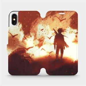 Flipové pouzdro Mobiwear na mobil Apple iPhone X - MA06S Postava v ohni