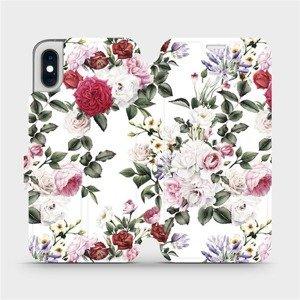 Flipové pouzdro Mobiwear na mobil Apple iPhone XS - MD01S Růže na bílé