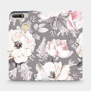 Flipové pouzdro Mobiwear na mobil Huawei Y6 Prime 2018 - MX06S Květy na šedém pozadí - rozbaleno