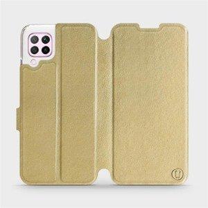 Flipové pouzdro Mobiwear na mobil Huawei P40 Lite v provedení C_GOS Gold&Gray s šedým vnitřkem