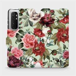 Flipové pouzdro Mobiwear na mobil Xiaomi Mi Note 10 Lite - MD06P Růže a květy na světle zeleném pozadí