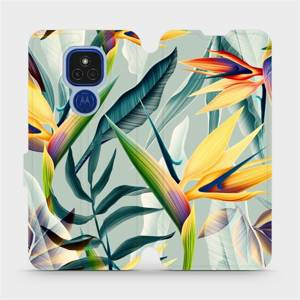 Flipové pouzdro Mobiwear na mobil Motorola Moto E7 Plus - MC02S Žluté velké květy a zelené listy
