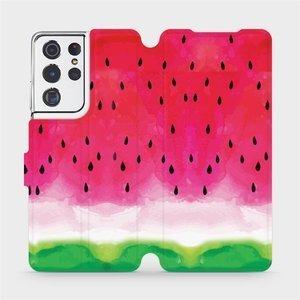 Flipové pouzdro Mobiwear na mobil Samsung Galaxy S21 Ultra 5G - V086S Melounek