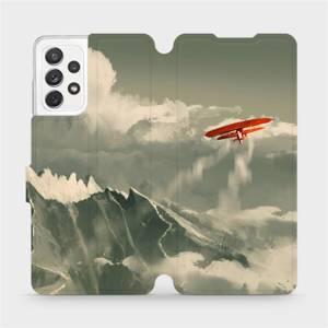Flipové pouzdro Mobiwear na mobil Samsung Galaxy A72 - MA03P Oranžové letadlo v horách