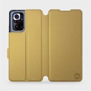 Flipové pouzdro Mobiwear na mobil Xiaomi Redmi Note 10 Pro v provedení C_GOS Gold&Gray s šedým vnitřkem