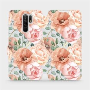 Flip pouzdro Mobiwear na mobil Xiaomi Redmi 9 - MP02S Pastelové květy