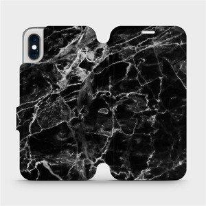 Flipové pouzdro Mobiwear na mobil Apple iPhone XS - V056P Černý mramor