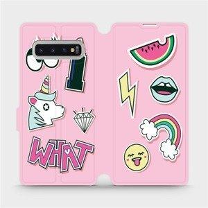 Flipové pouzdro Mobiwear na mobil Samsung Galaxy S10 Plus - M129S Růžové WHAT