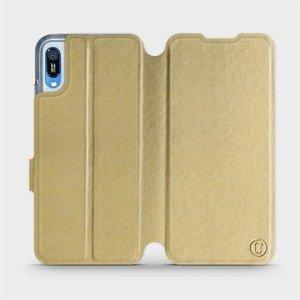 Flipové pouzdro Mobiwear na mobil Huawei Y6 2019 v provedení C_GOS Gold&Gray s šedým vnitřkem